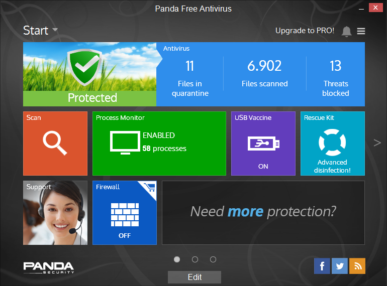 Panda Free Antivirus screen shot