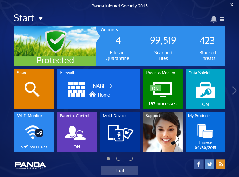 Want protection for you and your family on the Internet? Panda Internet Security great Screen Shot